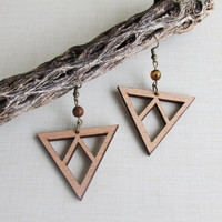 Natural Eco Wood Earrings, Tiger Eye Bead, Triangle & Diamond Cut, Pierced Dangle Earrings, Sacred Geometric Shapes, Wood, Isle Of Craftin
