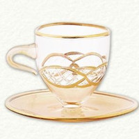 Gold Etched Egyptian Glass Tea Cup Ornament