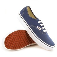 Womens Vans Authentic Casual Lace Up Canvas Plimsoll Low Top Sneakers - Navy - 8.5