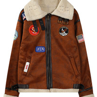 Brown Lapel Embroidery Symbol Patch Suedette Buckle Coat