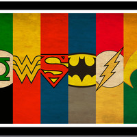 Justice League - Superman, Batman, Wonder Woman, Aquaman, Green Latern