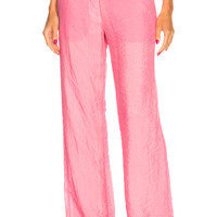 Victoria Beckham Wide Leg Trousers in Neon Coral | FWRD