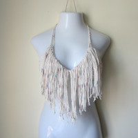 Fringe halter top, Boho fringe top, FESTIVAL CLOTHING,  festival, bikini top, gypsy, boho bohemian, summer top, COTTON