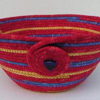Handmade Fabric Bowl, Coiled Fabric, Basket, Red, Yellow and Blue