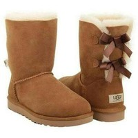 UGG Fashion Women Bow Flats Leather Boots In Tube Boots Shoes-4