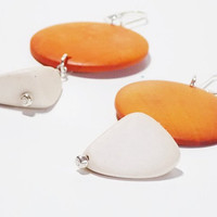 Wood Summer Earrings, Large Orange and Ivory with Silver Lever Back Hooks