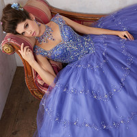 Jeweled Beading on a Tulle Ball Gown Sexy V-neckline Cap Sleeves Quinceanera Dresses Royal Blue Quinceanera Dresses