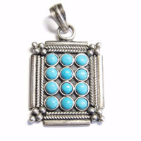 Sterling Turquoise Cluster Pendant