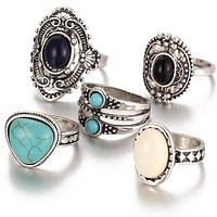 Antique Silver 5 Piece Boho Vintage Anillos Knuckle Rings