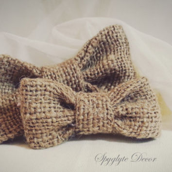 Burlap father and son bow tie Rustic Wedding photo session