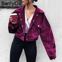 BerryGo Corduroy single breasted autumn jacket Women casual pocket winter outerwear 2018 High street purple jacket coats femme