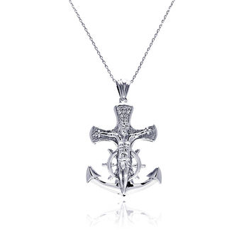 Rhodium Plated Brass Anchor Cross Inlay  Pendant Necklace: SOD