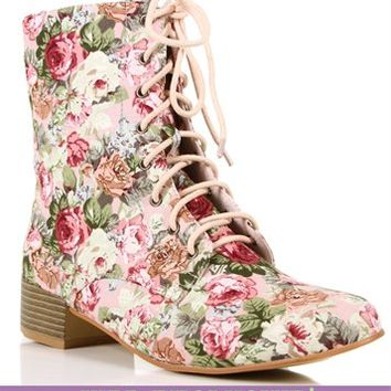 Pink Floral Lace Up Boots