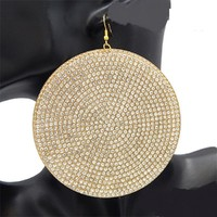 "3.50"" gold crystal paved huge dome circle metal pierced earrings geo shape"
