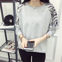 Women Girl Long Sleeve Embroidery Splicing Casual Loose Tops Pullover Sweatshirt Blouse Sport
