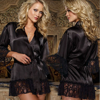 Cute On Sale Hot Deal Home Sexy Gowns Black Lace Dress Exotic Lingerie [10236763404]