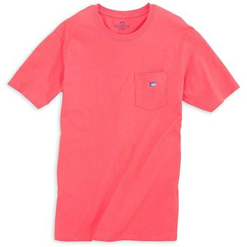 Embroidered Pocket Tee Shirt in Sunset Red by Southern Tide