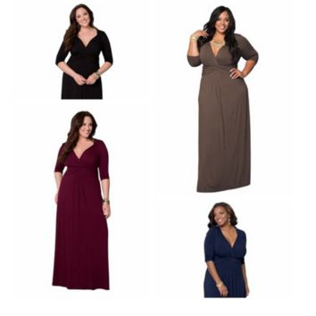 Plus Size Plunge Front Evening Long Maxi Dress Party Event Formal Dress