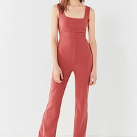 UO Empire-Waist Ribbed Knit Jumpsuit   Urban Outfitters