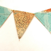 Recycled vintage map bunting or garland. Shabby chic home decor. Bookshelf accent.