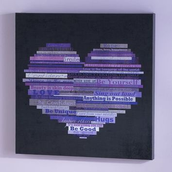Graphic Quotes Wall Art - Black/Purple