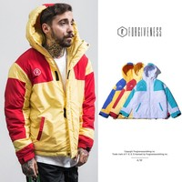 Men's Fashion Winter Patchwork Hats Cotton Jacket [362316660765]