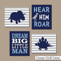 DINOSAUR Wall Art Dinosaur Decor Baby Boy Nursery Wall Art Dino Theme Big Boy Bedroom Dream Big Little Man Roar Set of 4 Prints Or Canvas