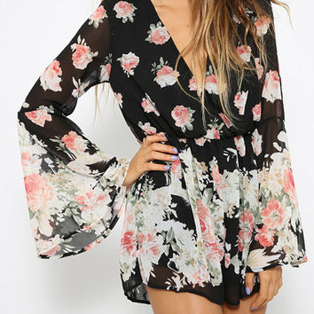 Floral V-Neck Chiffon Bell Sleeve Romper