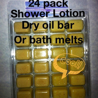 24 pc Breakaway Solid Shower lotion bath melt or Dry oil made with 100% Certified Organic Cocoa Butter