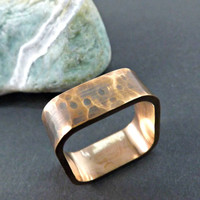 square ring bronze ring hammered structure wedding ring band 8mm wide mens ring handmade jewelry rustic wedding ring