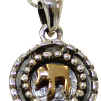 """Silver Chai Symbol Necklace With Gold Plating - Chain 18"""" Pendant 1/2"""" D"""