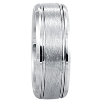 8mm Silver Brushed Center Tungsten Ring With Beveled Edges