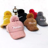 Champion Winter Trending Women Men Lambs Wool Hat Cap