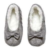 H&M - Knit Slippers - Gray - Ladies