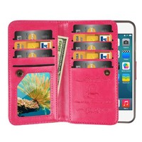 """iPhone 6S Case / iPhone 6 Case, Mouselemur Premium PU Leather Flip Folio Wallet Case with Credit Card Holder [9 card slots] and Magnetic Detachable Slim Cover for iPhone 6/6S (4.7"""") Rose"""