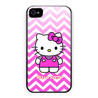 Chevron Hello Kitty Design Custom iPhone 4/4S Case