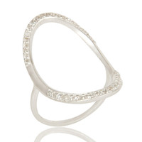 925 Sterling Silver White Topaz Gemstone Open Circle Eternity Ring