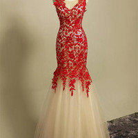 Hot Sale Red Lace Nude Tulle Mermaid Evening Formal Dress Jewel Sheer Straps Backless Cheap Free Shipping Prom Party Dresses gowns