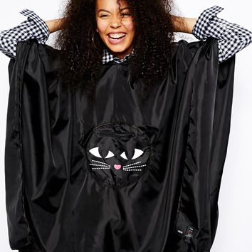 ASOS Packaway Cat Poncho With Front Bag Detail