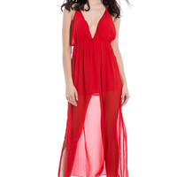 Red Sheer Plunging Neckline Maxi Dress