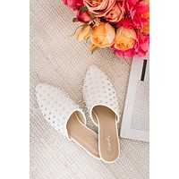 IMPERFECT Rocker At Heart Studded Mules (White)