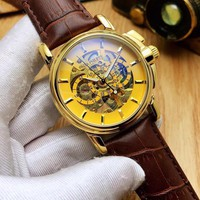 KKUYOU P001 Patek Philippe Automatic Machinery Hollow Genuine Leather Strap Watches Gold Maroon
