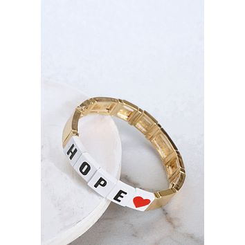 HOPE Gold Tone Block Bracelet