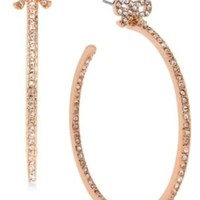 Betsey Johnson Betsey Johnson Rose Gold-Tone Crystal Bow Hoop Earrings from Macys | ShapeShop