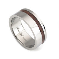 KOA wood stripe inlay titanium ring for men