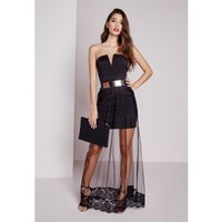Missguided - Crepe Maxi Mesh Overlay Dress Black