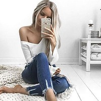 Long Sleeve Pullover Sweater Crop Top V-neck Sexy Bottoming Shirt [31300976666]