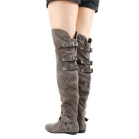 Bamboo Zoria40 Gray Multi Buckle OTK Boots and Womens Fashion Clothing  Shoes - Make Me Chic