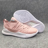 Under Armour UA CURRY 5 New Popular Men Leisure Low Top Sport Running Basketball Shoe Sneakers Pink I-AHXF