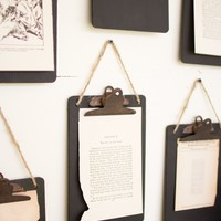 Set Of 6 Black Clip Board Photo Of Notes Holder